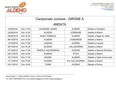 Calendari Campionati Prima, Juniores, Allievi, Giovanissimi, Esordienti A9