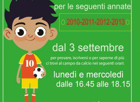 Scuola Calcio…. dal 3 settembre